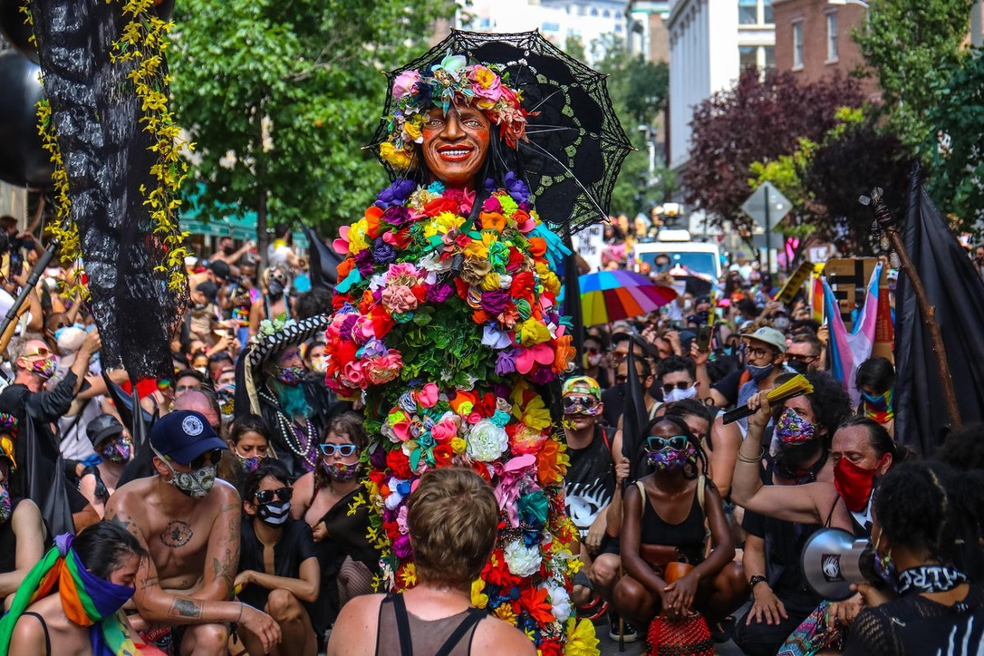 The Stop Shopping Choir with Marsha P Johnson float at Pride 2020