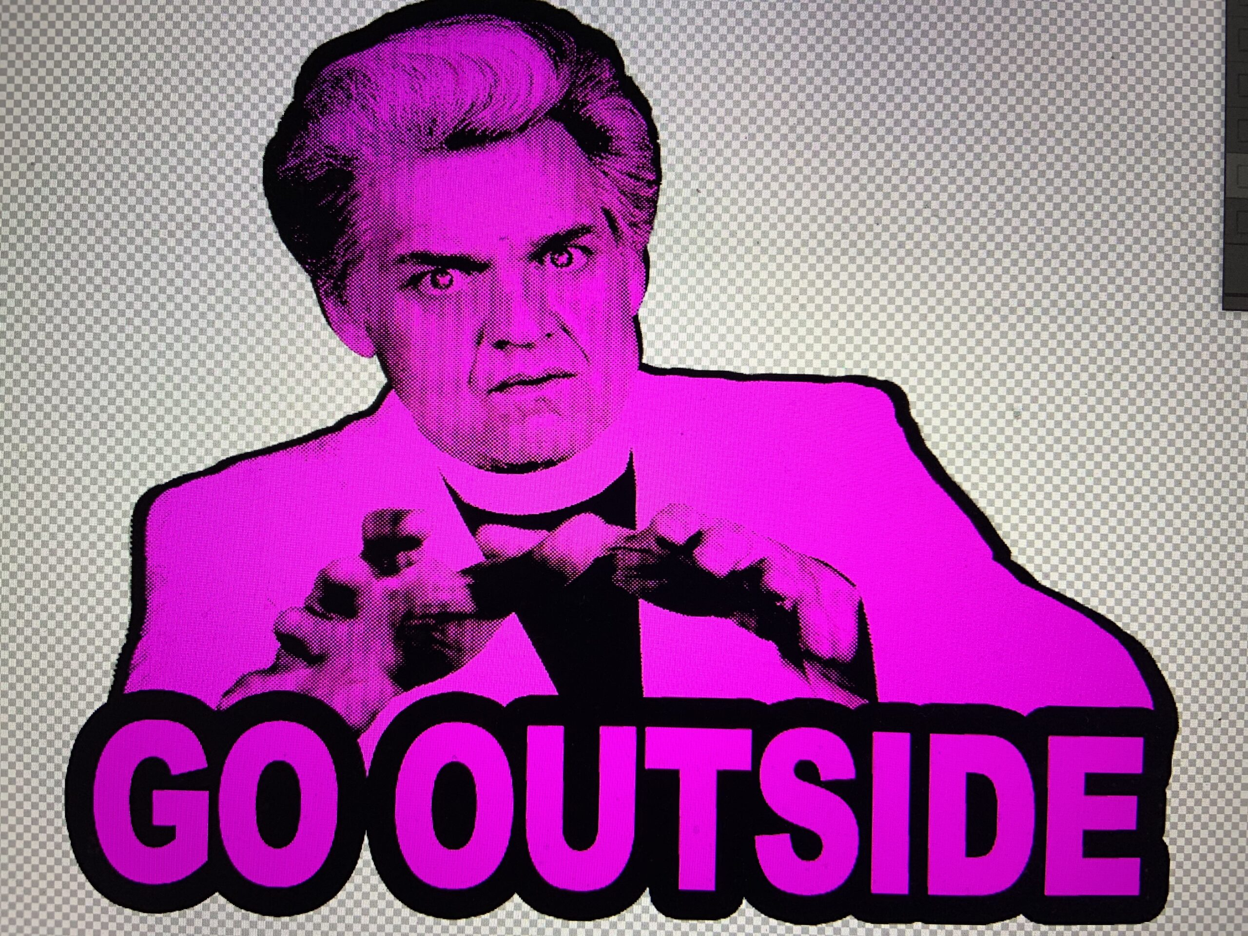 """Reverend Billy graphic: """"Go Outside"""""""