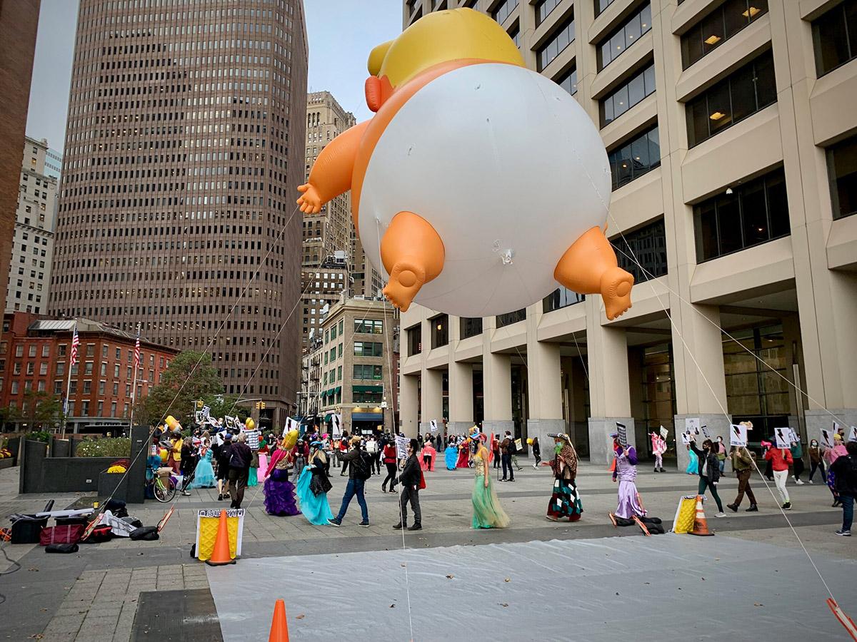 Donald Trump Baby Baloon at Stop Shopping Choir Action